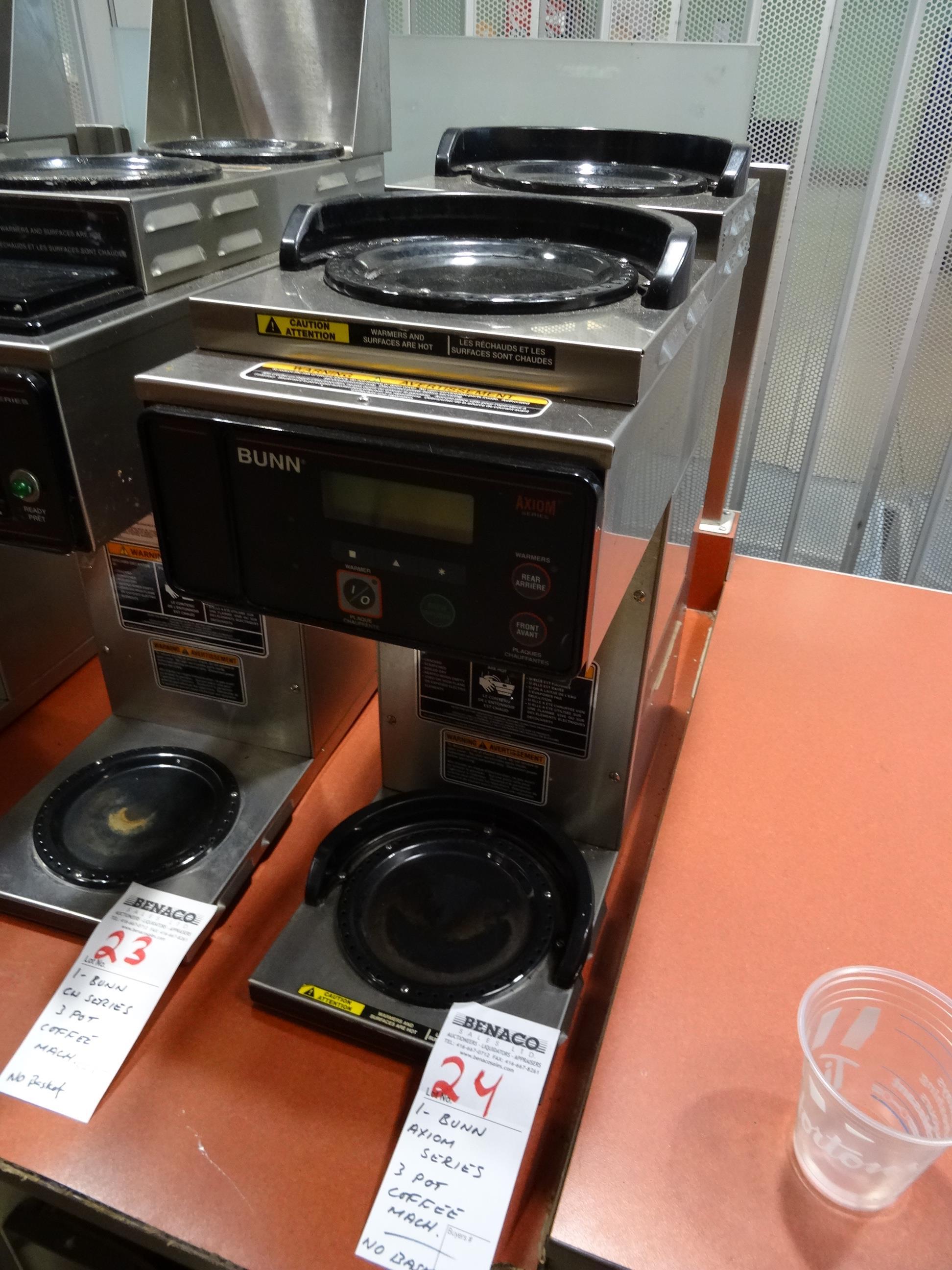 Lot 24 - 1X, BUNN CW SERIES, 3 POT COFFEE MACHINE (NO BASKET)