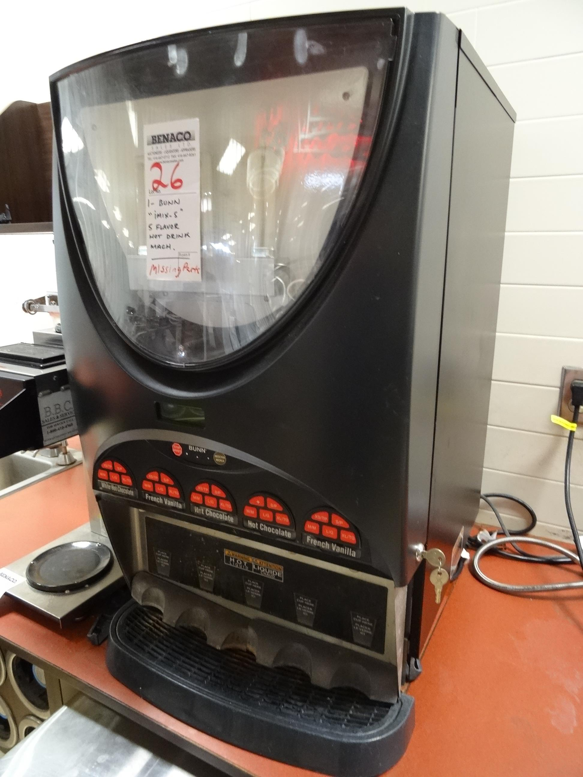 Lot 26 - 1X, BUNN iMIX-5, 5-FLAVOR DRINK MACHINE (MISSING PARTS)