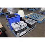 1 LOT, SKID WITH FAX/PRINTER, 3M PROJECTOR, WIRES, PAMP ETC