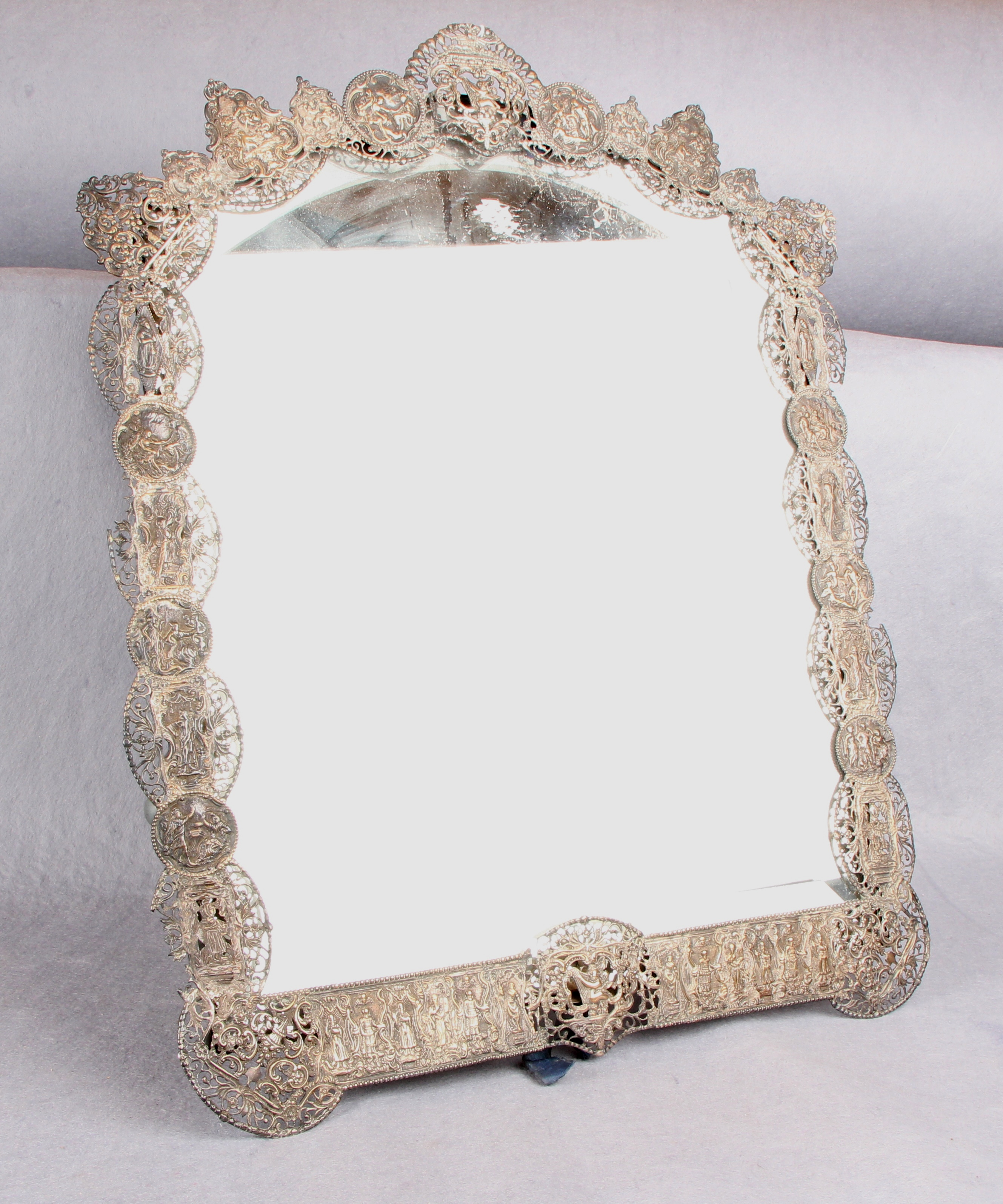 Lot 32 - A late 19th century dressing table mirror, the arched,