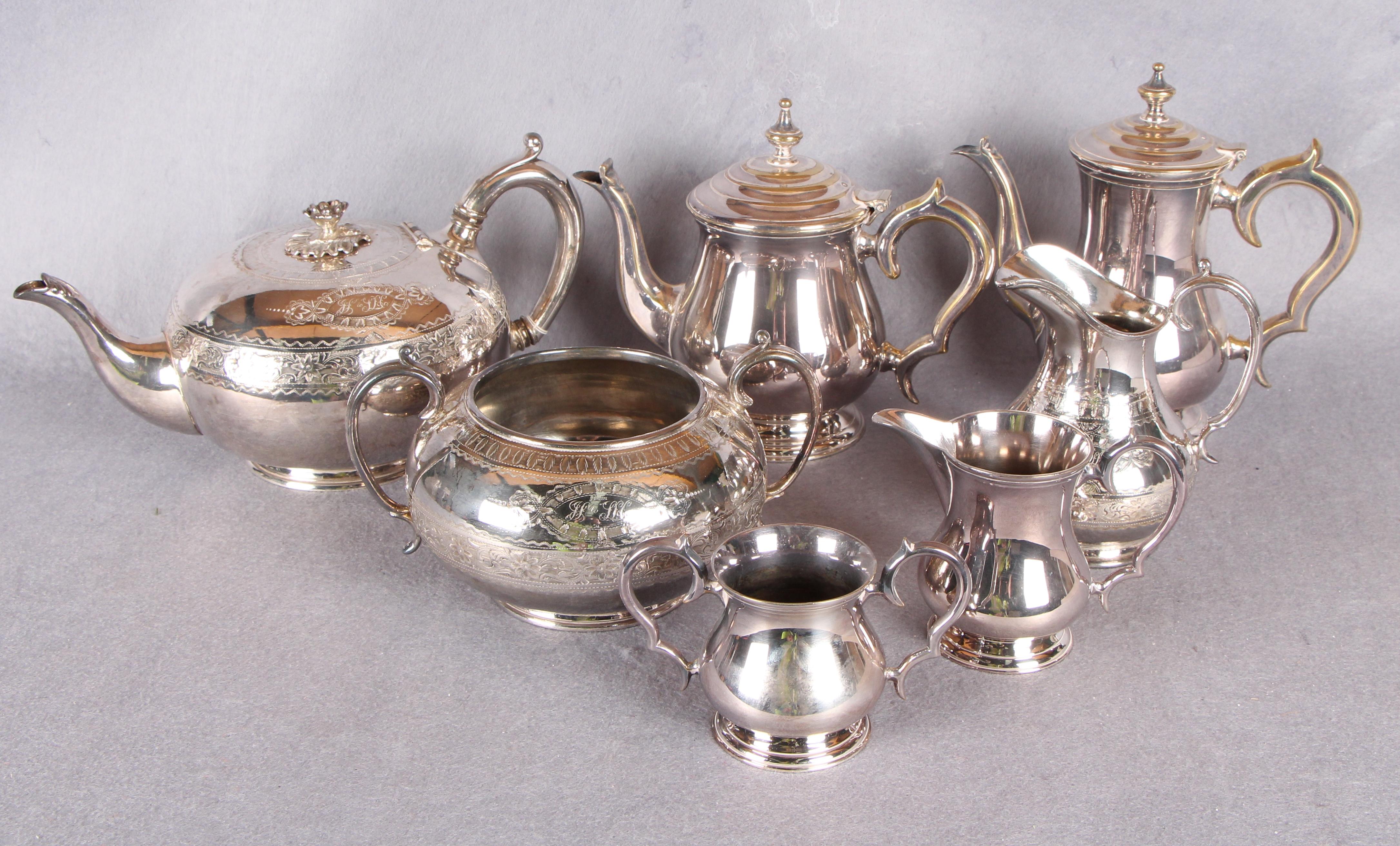 Lot 5 - A Victorian three piece tea service, of circular form,