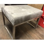 GREY FOOT REST, SUEDE SOFT ACCENT CHAIR