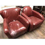 TWO RED LEATHER, EXTRA LARGE LOUNG STYLE CHAIRS