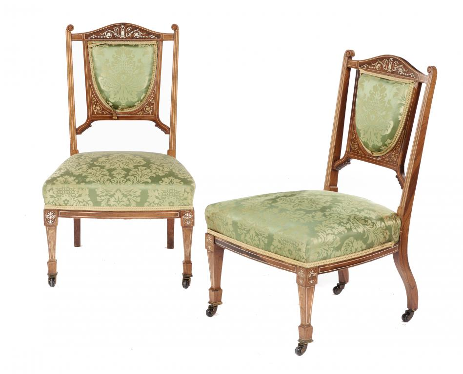 Lot 639 - ROYAL A PAIR OF VICTORIAN IVORY INLAID AND PENWORK DECORATED ROSEWOOD BEDROOM CHAIRS BY BREW &