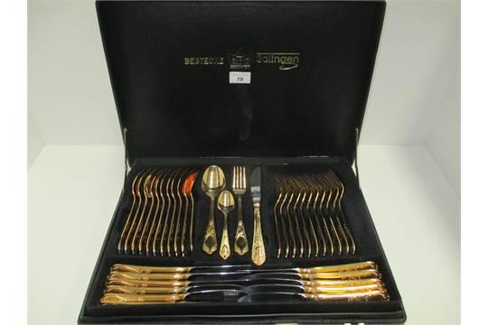 SBS Bestecke Solingen 23/24 carat gold plated cutlery set in fitted case - 70 pieces & SBS Bestecke Solingen 23/24 carat gold plated cutlery set in fitted ...