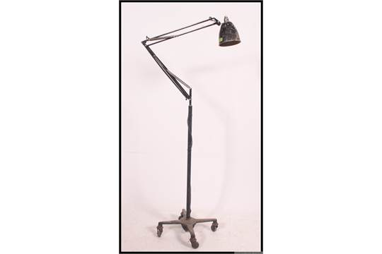 A large Herbert Terry anglepoise Industrial floor standing ...