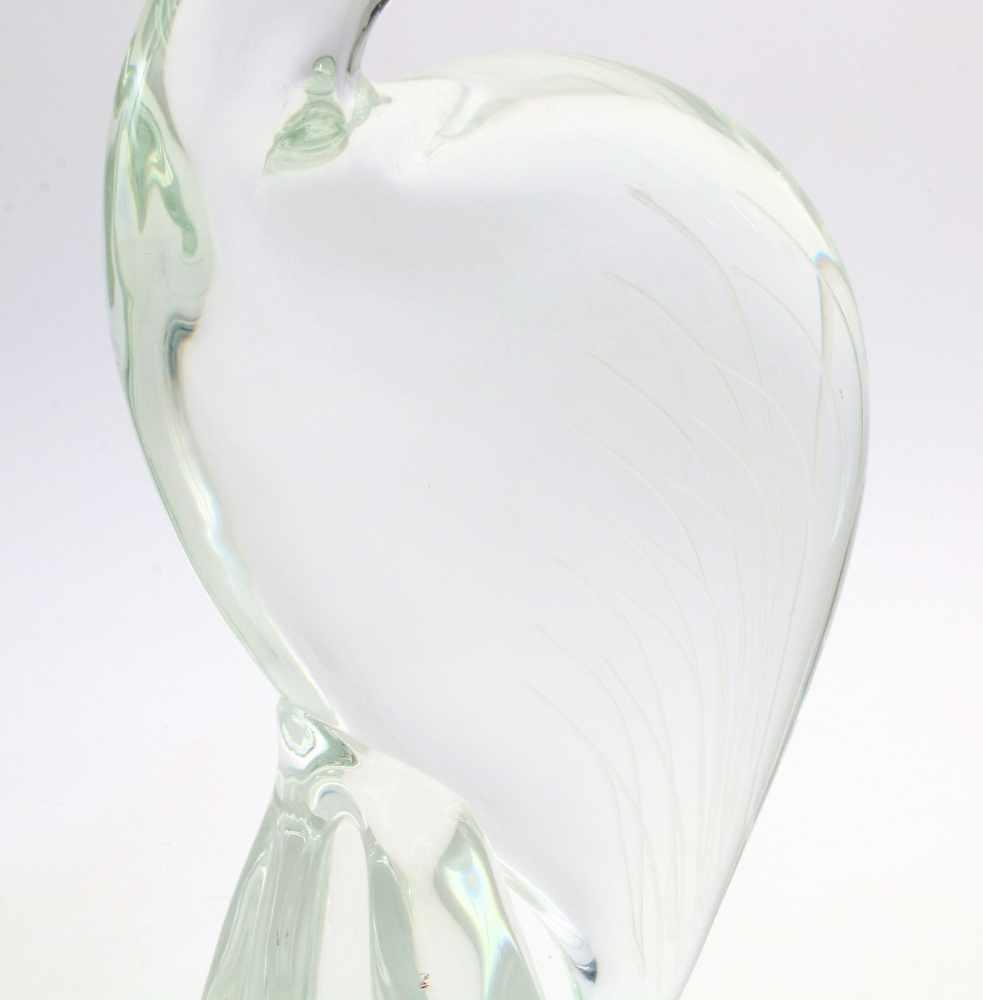 """Glasplastik """"Kranich"""" - Lalique ?Sitzender Kranich auf vierpassigem Sockel, farbloses - Bild 4 aus 4"""