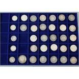 33 Silbermünzen Kaiserreich27x 1 Mark; 5x 1/2 Mark; 2 Mark Baden 1902.