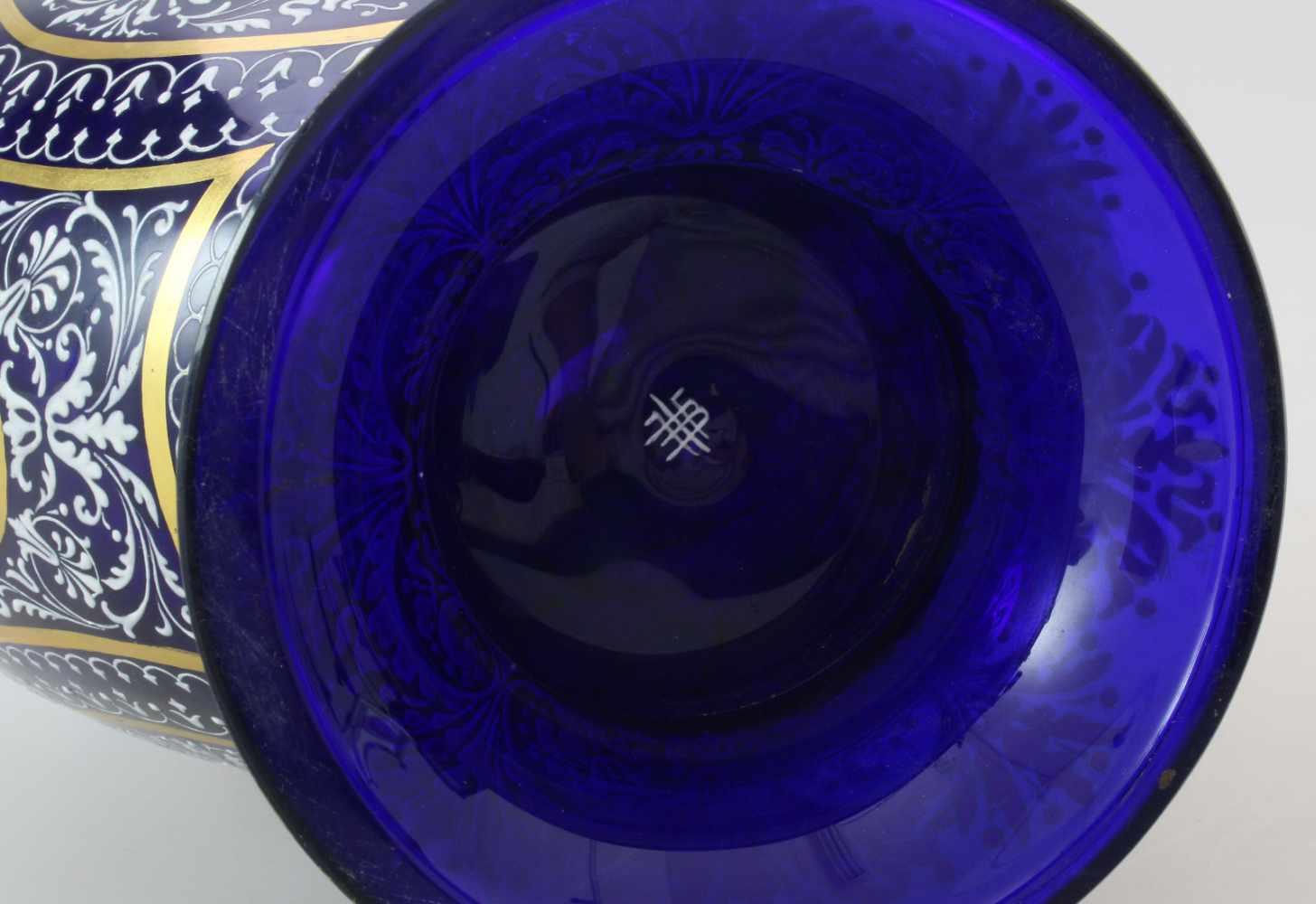 Kobaltblaue Vase mit Orientaldekor - J. & L. Lobmeyr um 1875Beidseitig abgeflachter, bauchiger - Bild 6 aus 6