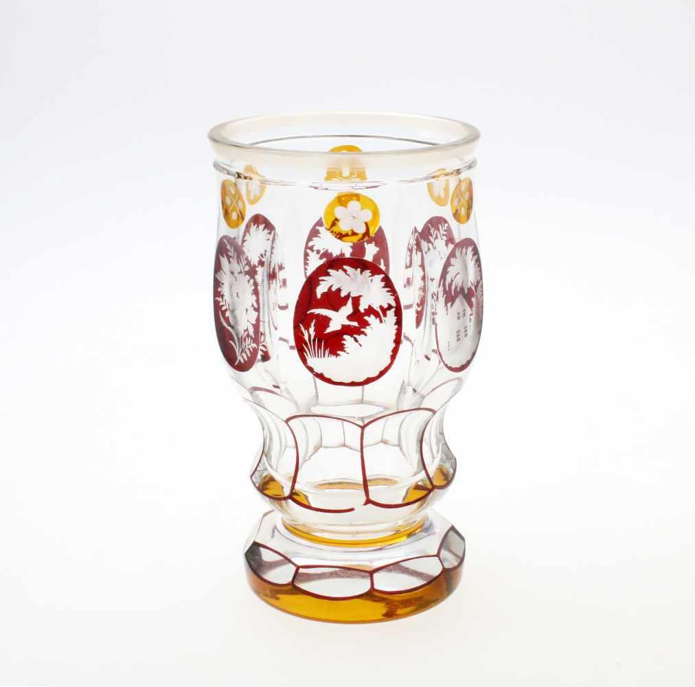 3 Glasbecher Haida, Böhmen1. Farbloses Glas, abgesetzter Lippenrand, Reste von Vergoldung, - Bild 4 aus 4