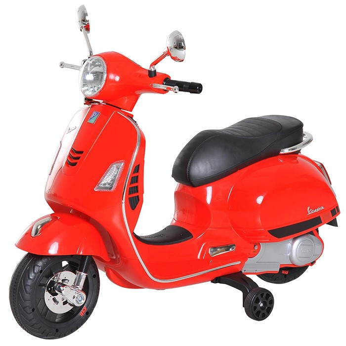 Lot 25 - 1 BOXED AS NEW CHILDRENS AGE 3+ VESPA RIDE ON SCOOTER IN RED RRP £81.99