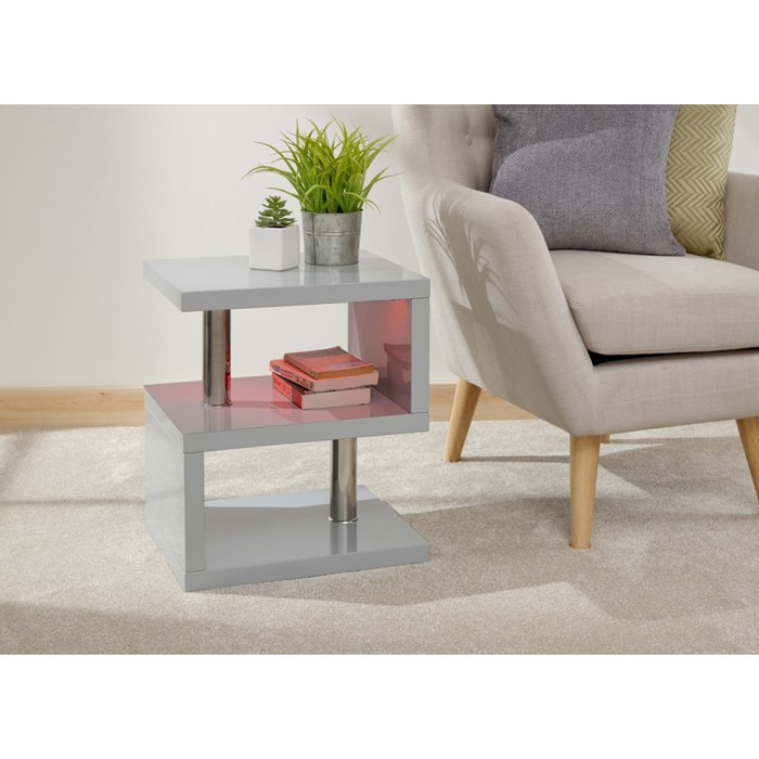 Lot 35 - 1 BOXED POLAR HIGH GLOSS LED SIDE TABLE IN GREY
