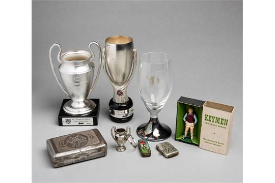 miniature replicas of the uefa european cup and super cup trophies both bases mounted with a fc miniature replicas of the uefa european