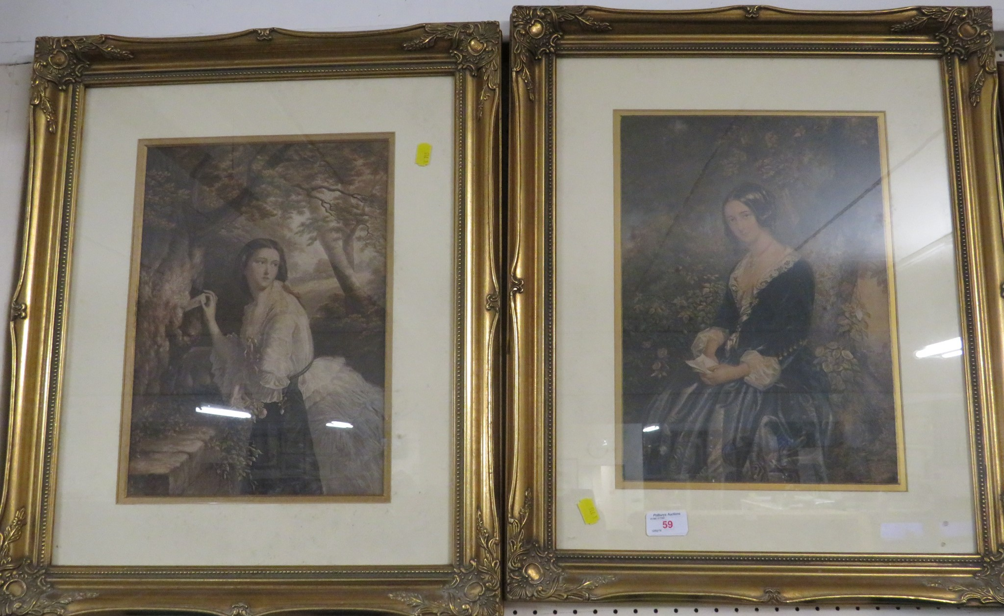 Lot 59 - TWO FRAMED AND MOUNTED PRINTS OF LADIES IN PERIOD COSTUMES