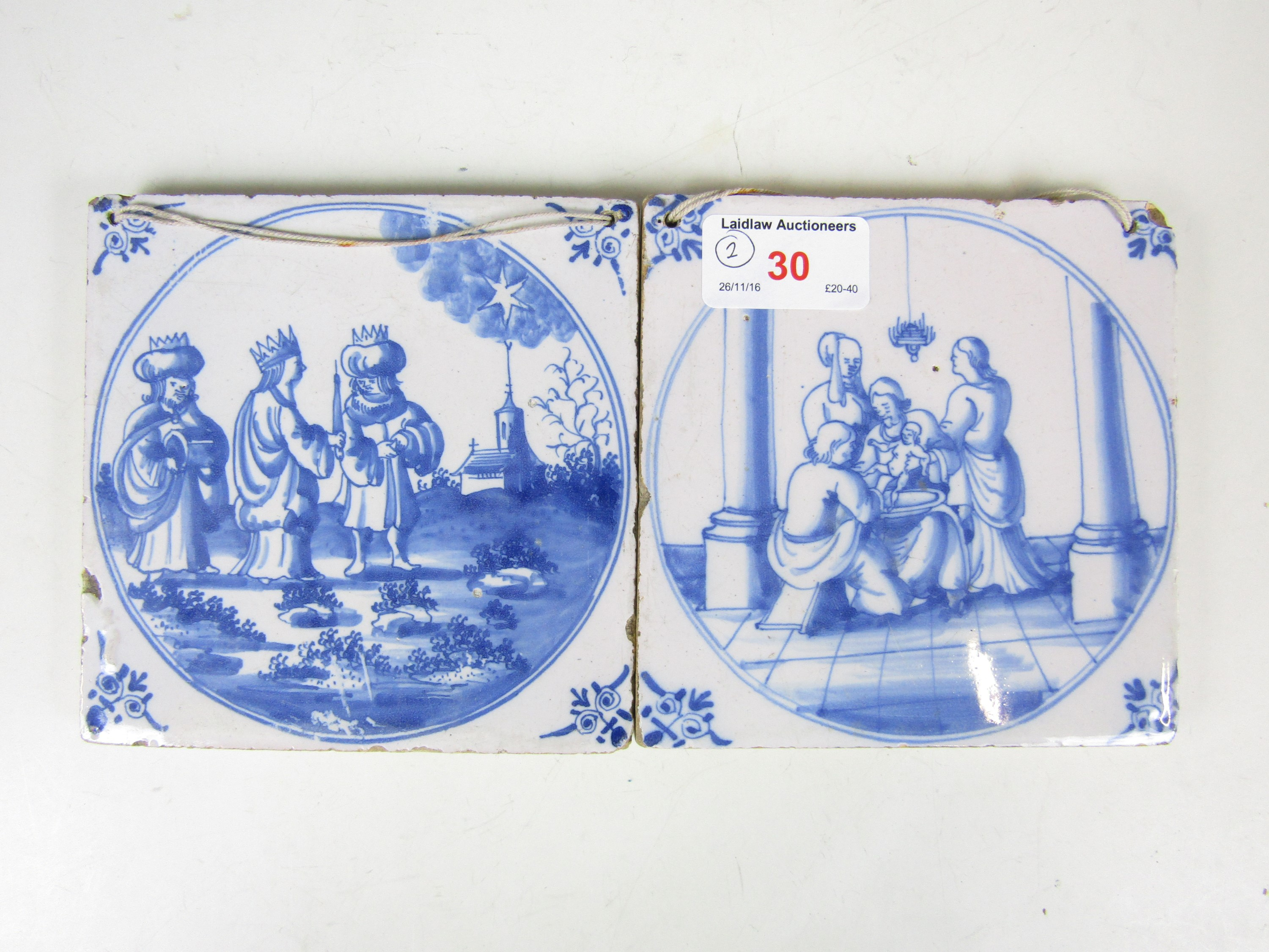 Lot 30 - Two 17th Century Delft blue-and-white tiles