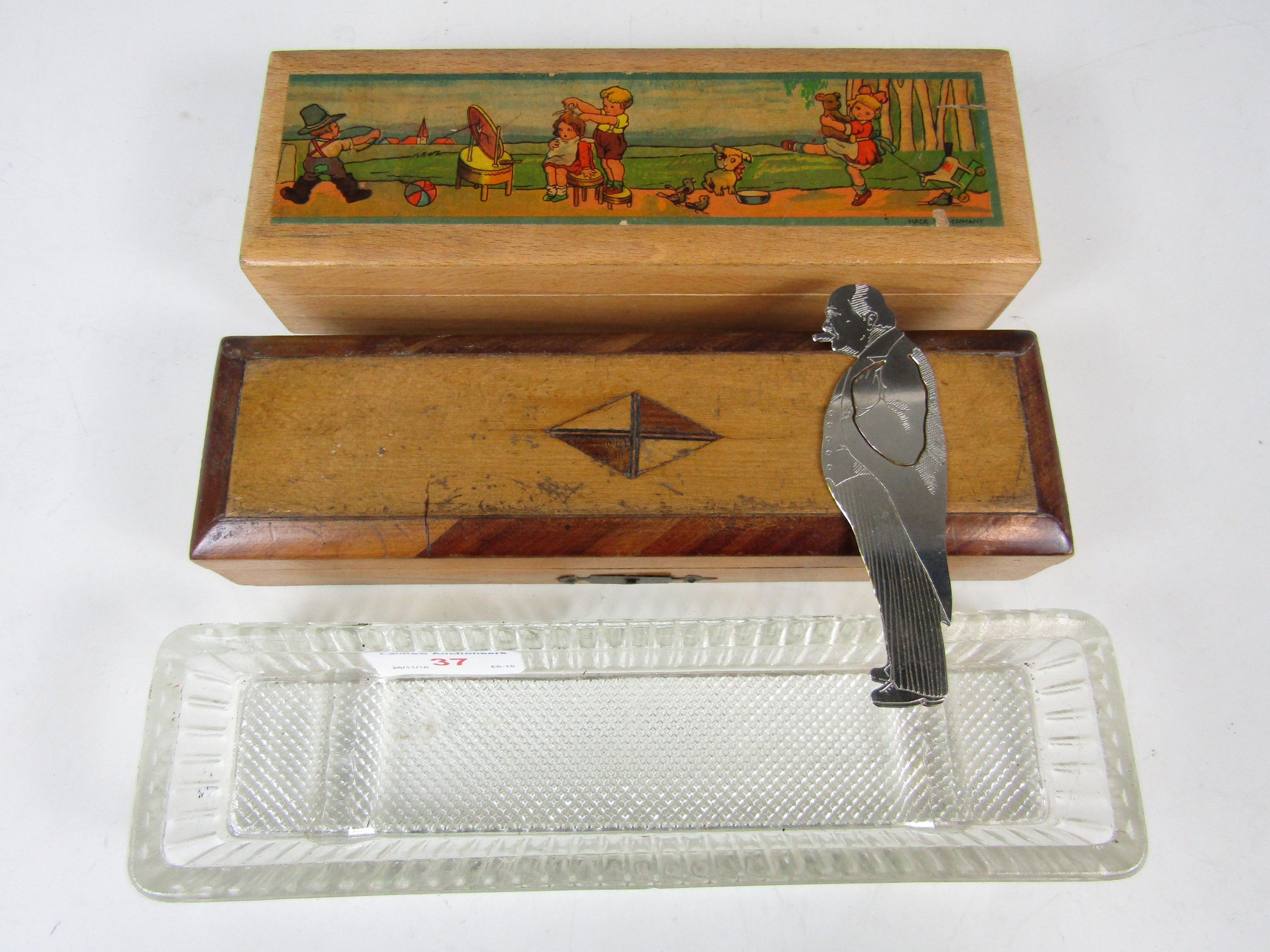 Lot 37 - Two vintage pencil boxes together with a pen tray and a Winston Churchill bookmark