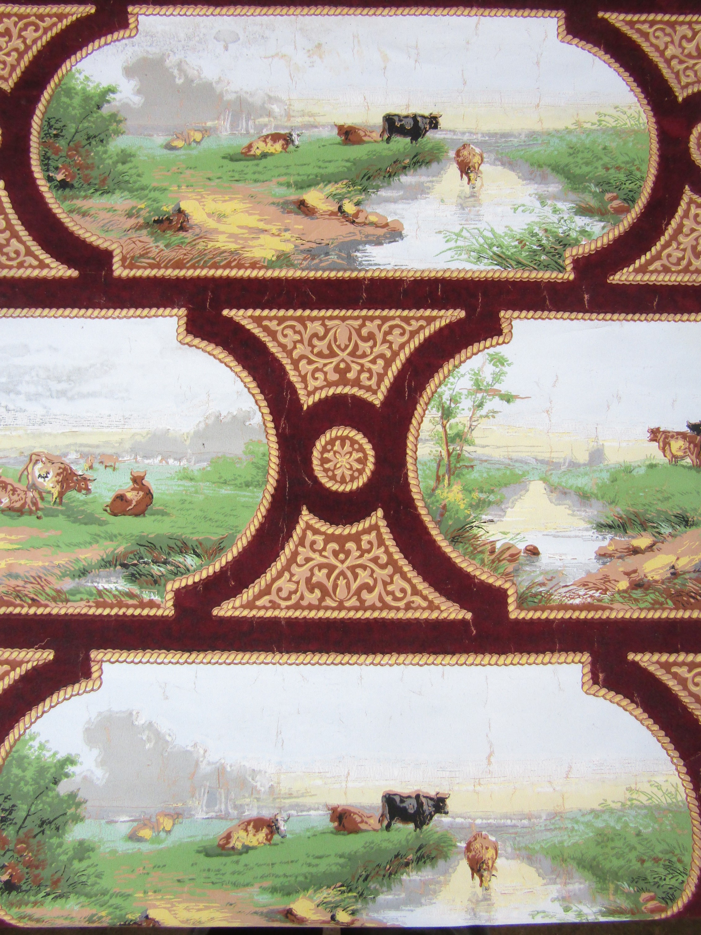 Lot 38 - A roll of Victorian printed pictorial wall paper