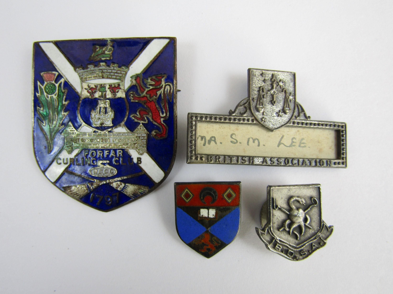 Lot 61 - A selection of enamelled Scottish curling badges