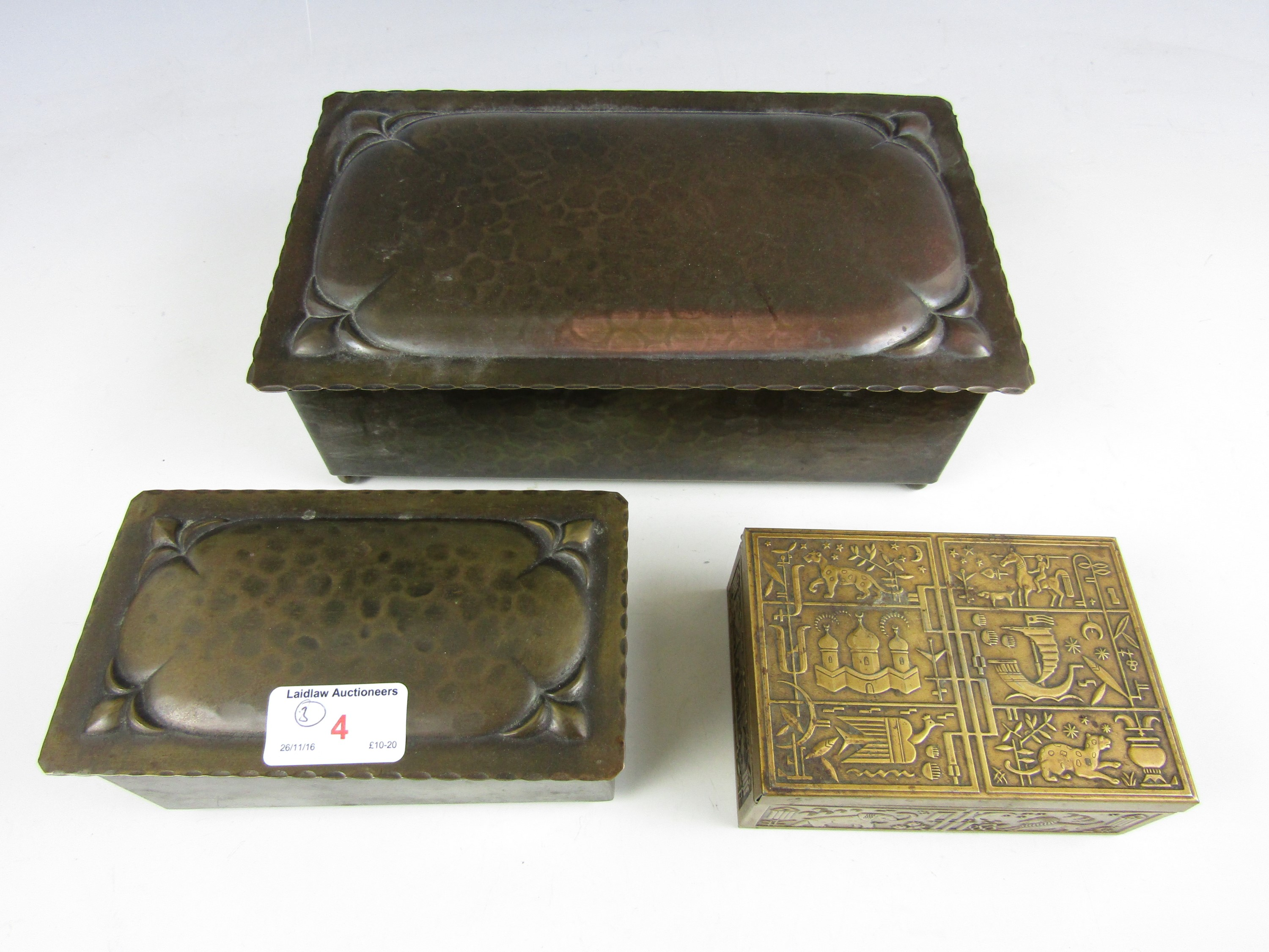 Lot 4 - A pair of 1930's planished and anodised table boxes together with an Art Deco cigar box