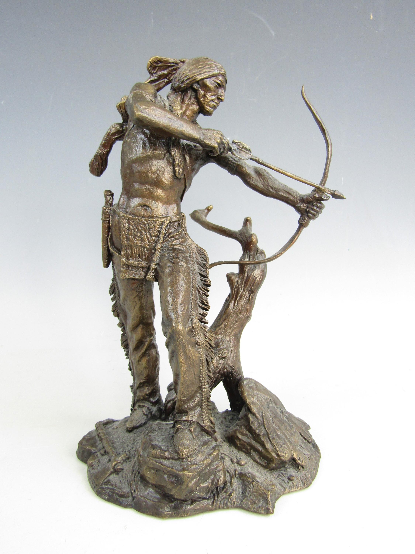 Lot 50 - A Franklin Mint bronzed figure Indianer Auf Der Jagd