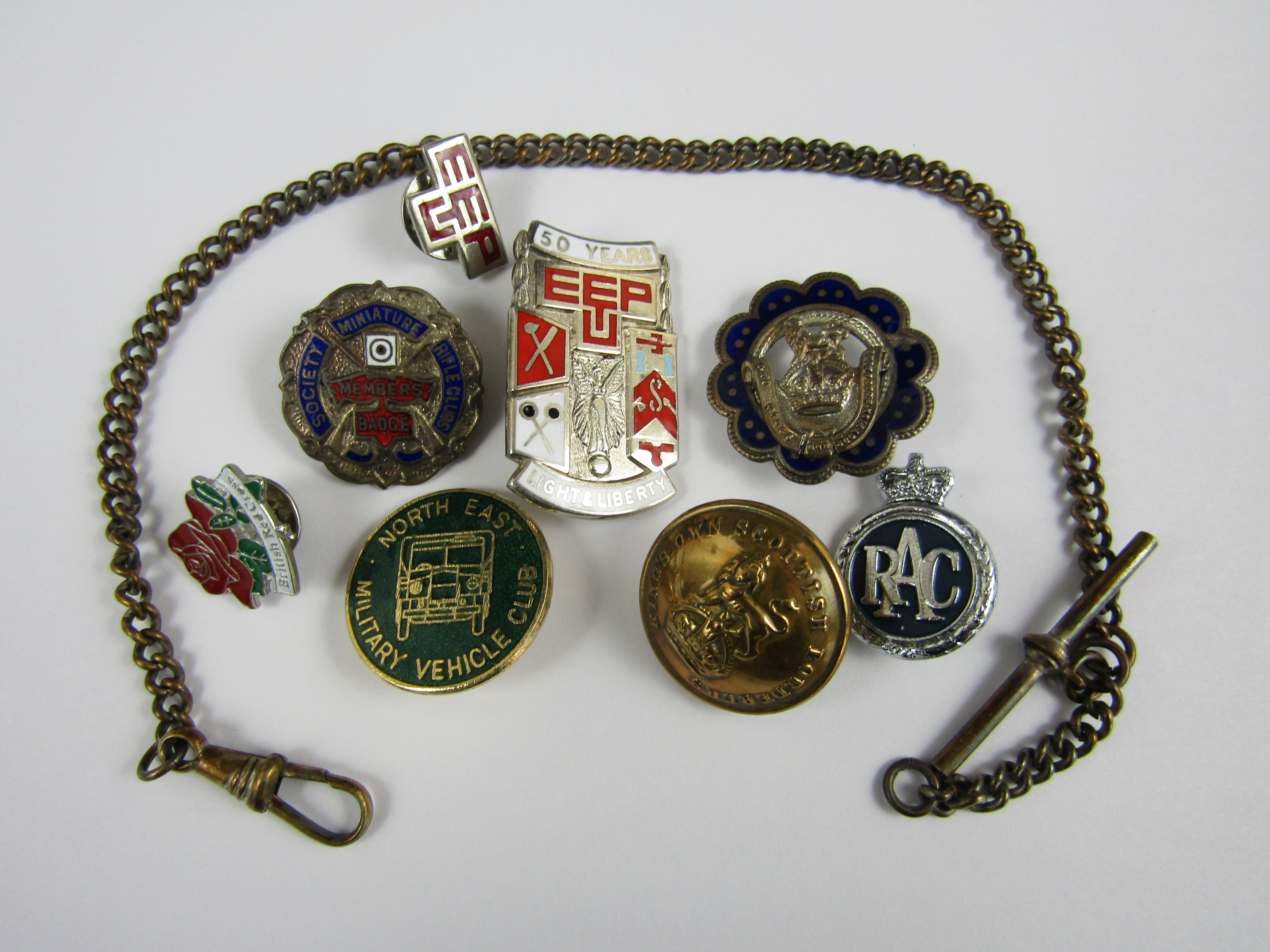 Lot 7 - A collection of various enamelled badges and buttons, including an enamelled silver Trade Union