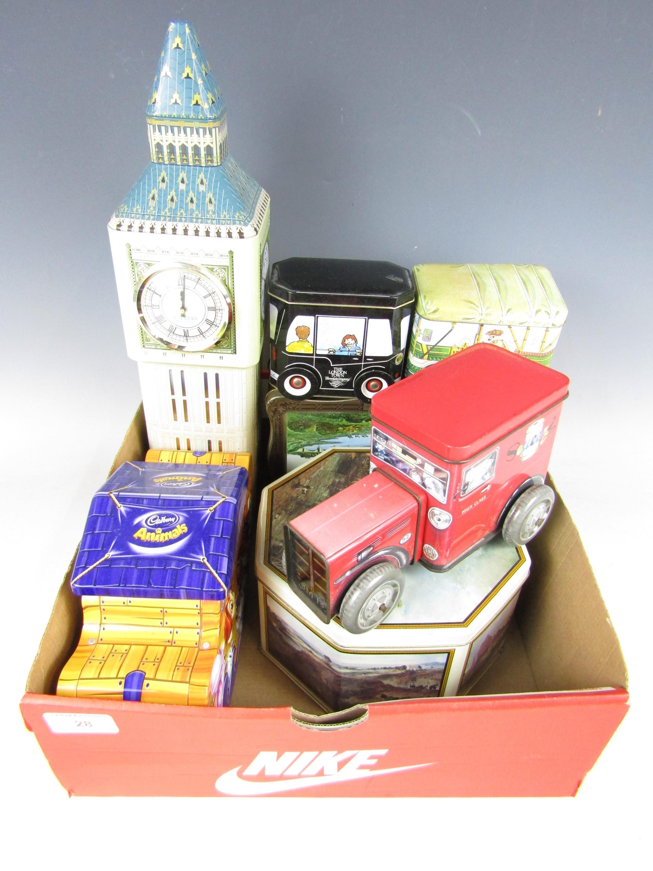 Lot 28 - Various advertising tins including Big Ben Walkers Chocolates etc