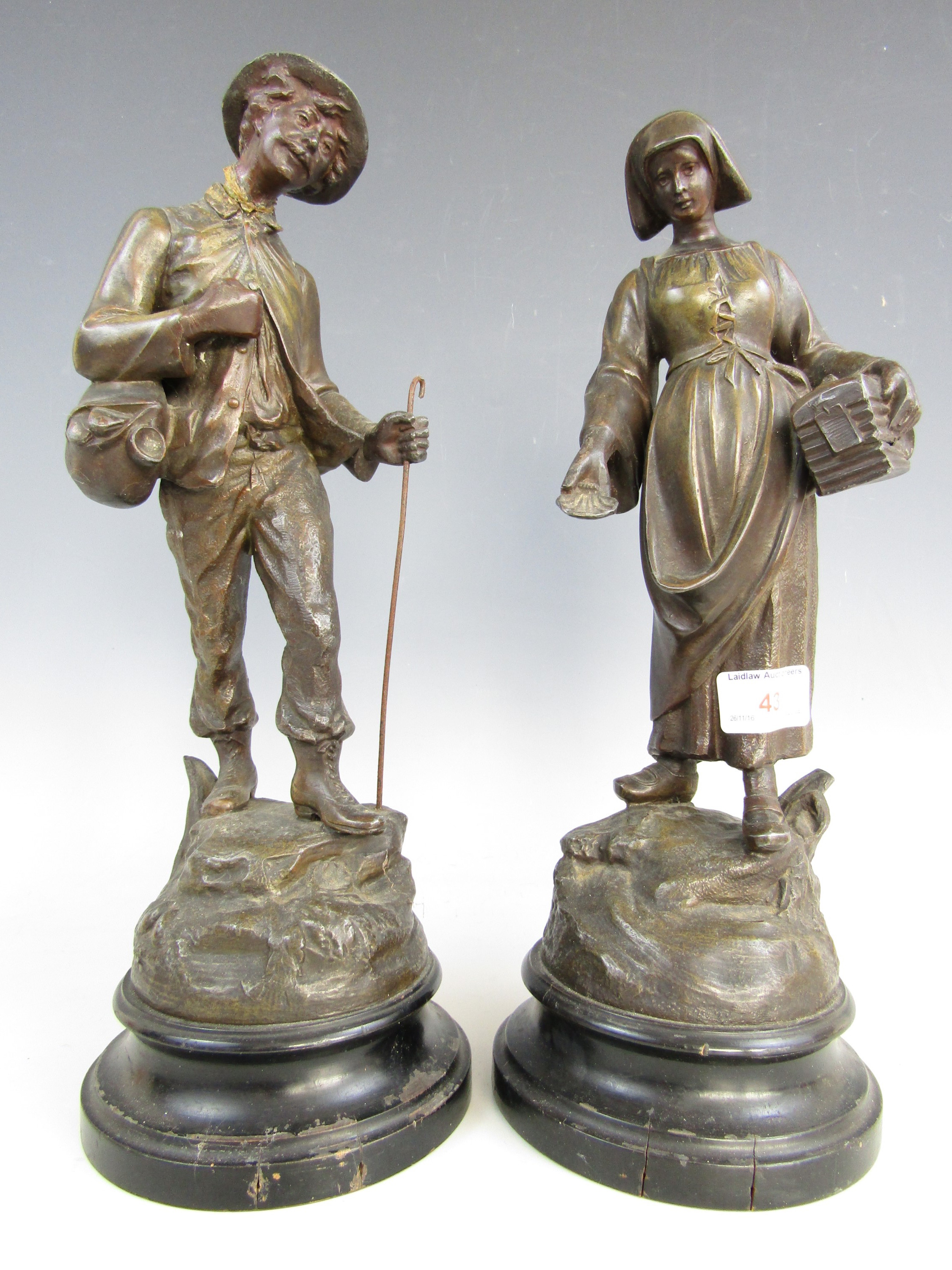 Lot 43 - A pair of late 19th century spelter figures one (a/f)