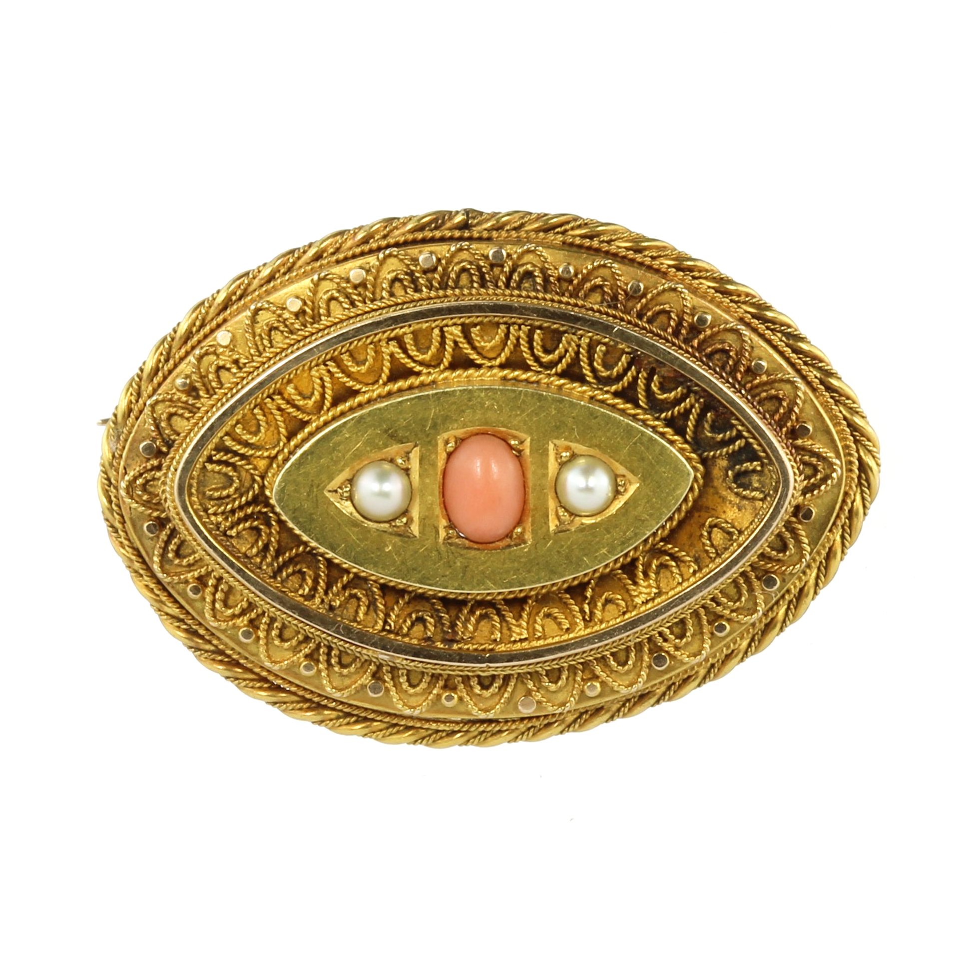 AN ANTIQUE CORAL AND PEARL MOURNING BROOCH, 19TH CENTURY in high carat yellow gold, the navette face