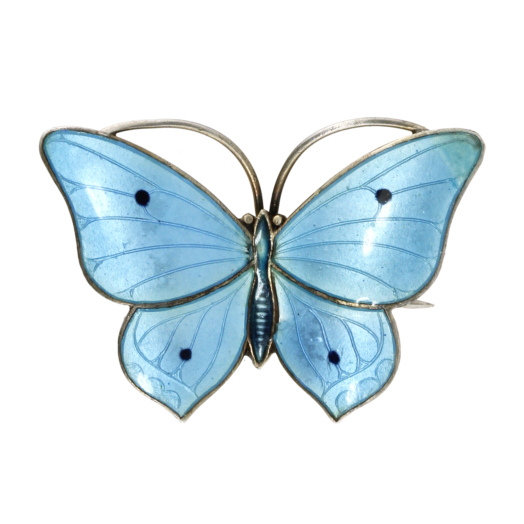 Los 49 - AN ANTIQUE ENAMELLED SILVER BUTTERFLY BROOCH, MARIUS HAMMER, NORWAY CIRCA 1910 in silver,