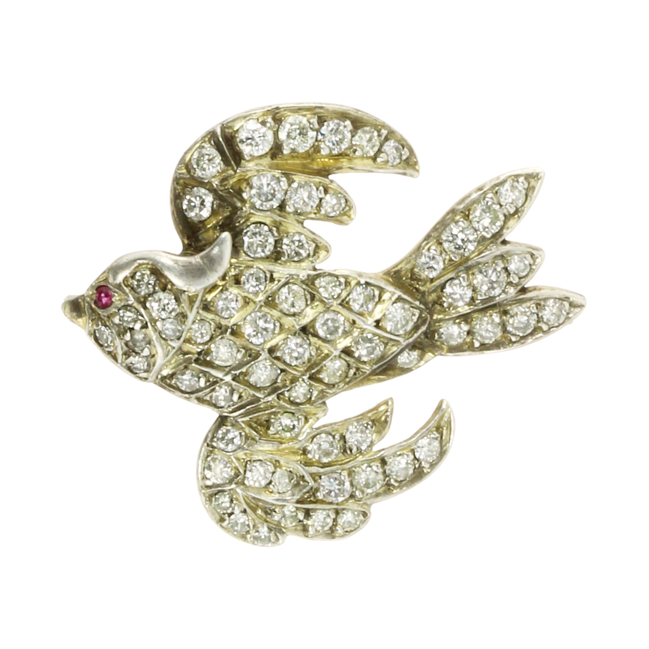 Los 46 - A JEWELLED RUBY AND DIAMOND BIRD BROOCH in yellow gold modeled as a bird in flight, jewelled all