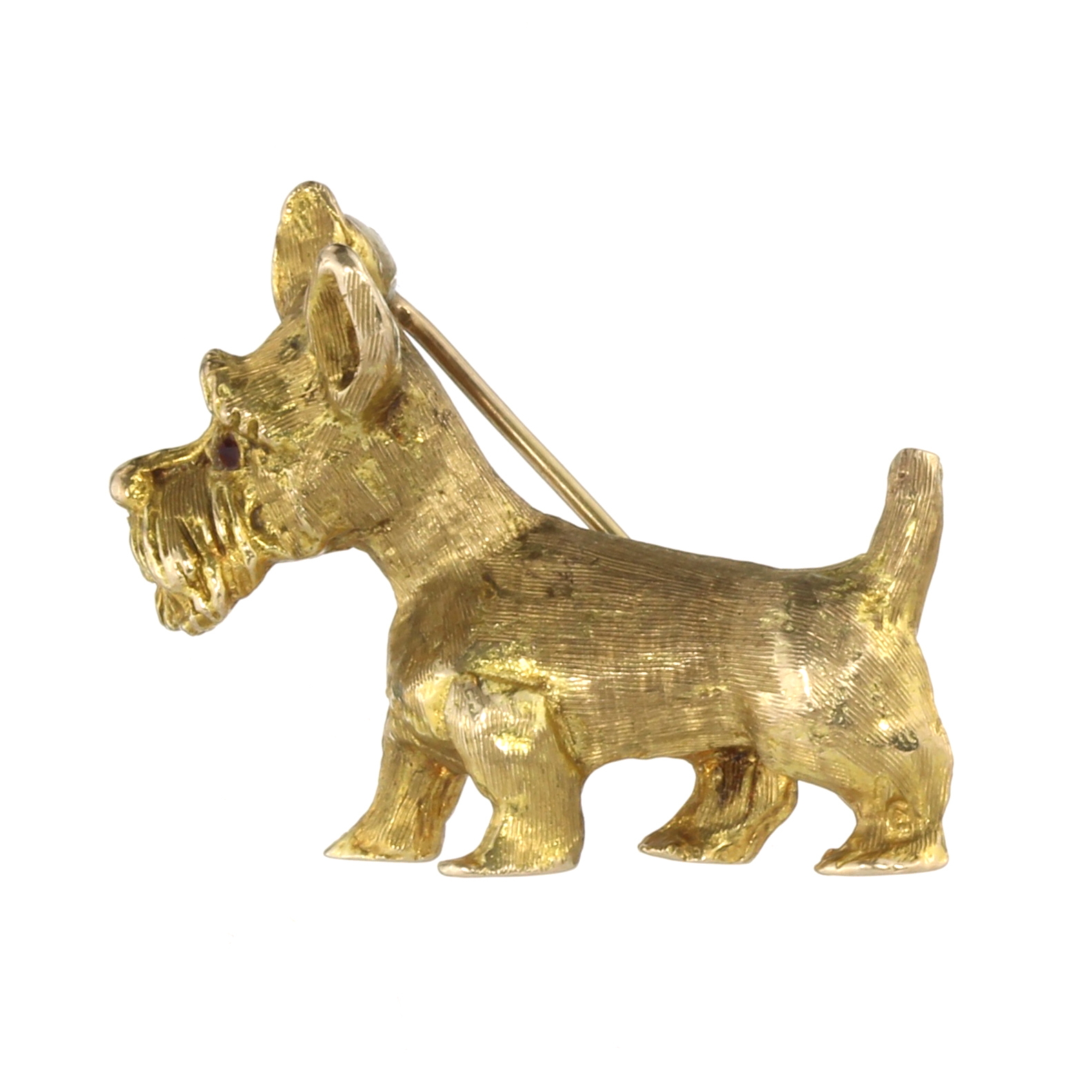 A VINTAGE JEWELLED SCOTTIE DOG BROOCH, CIRCA 1960 in yellow gold designed as a Scottish terried,
