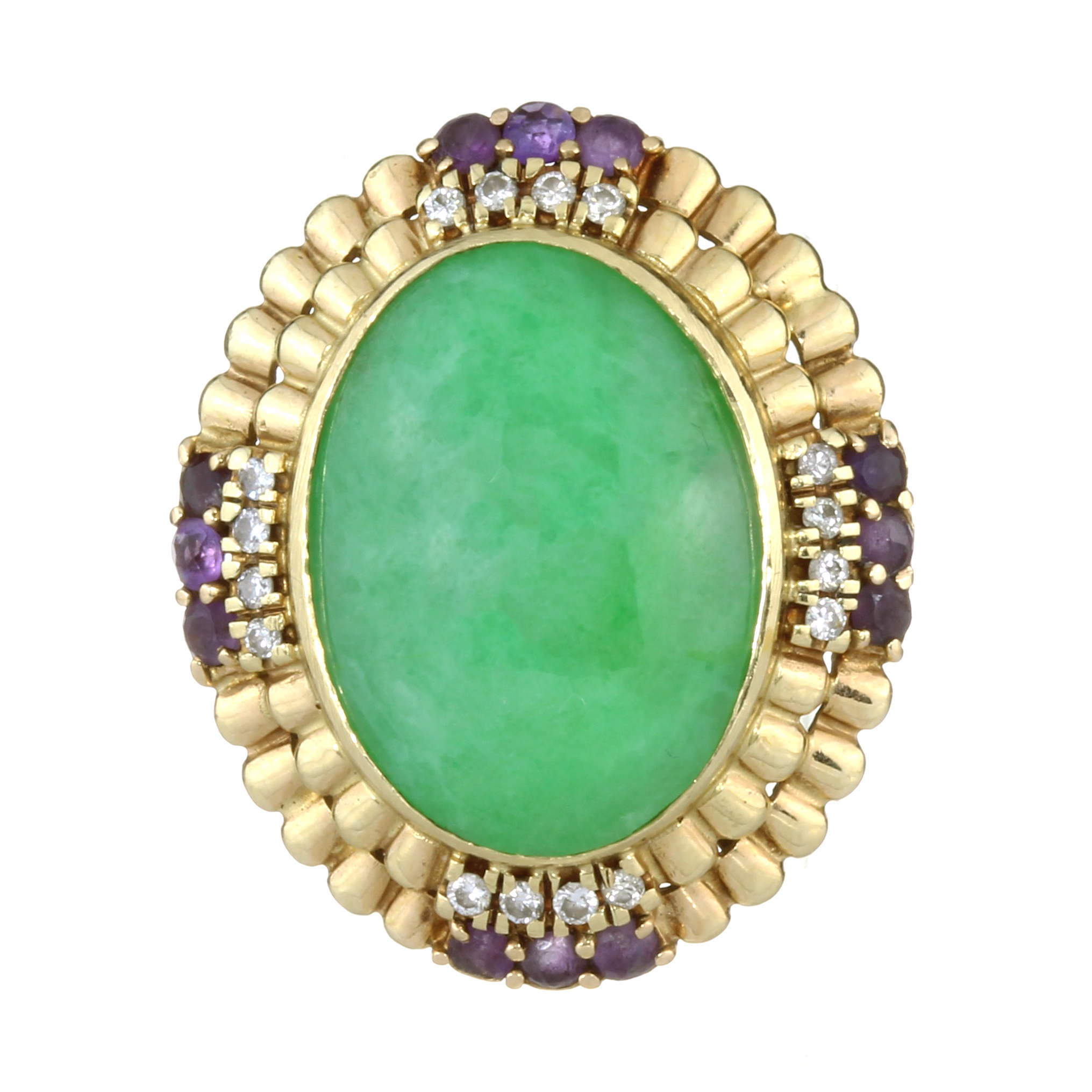 A JADEITE JADE, AMETHYST AND DIAMOND RING in yellow gold set with a large oval jade cabochon of 20.