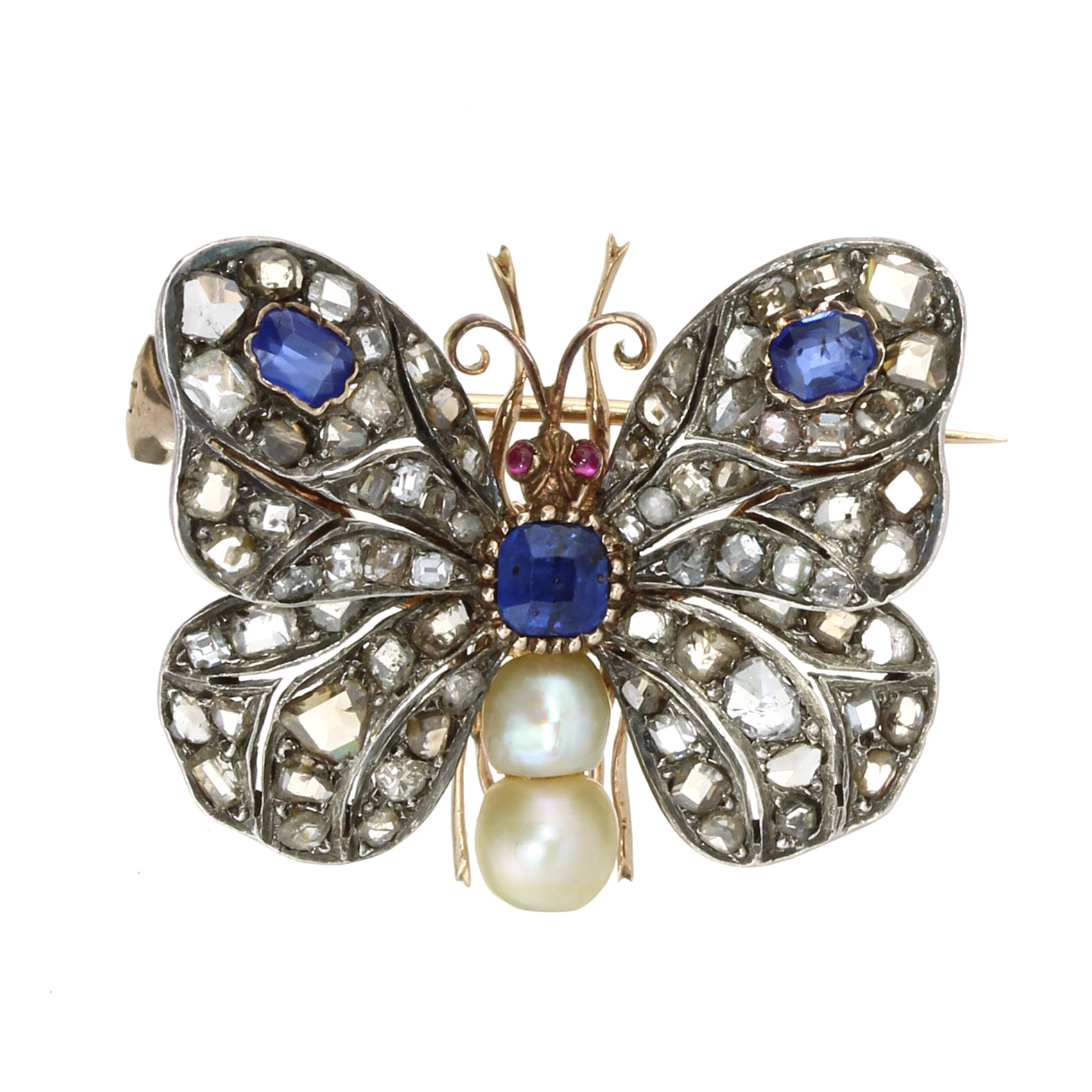 Los 45 - AN ANTIQUE SAPPHIRE, PEARL, RUBY AND DIAMOND BUTTERFLY BROOCH in high carat gold and silver, in