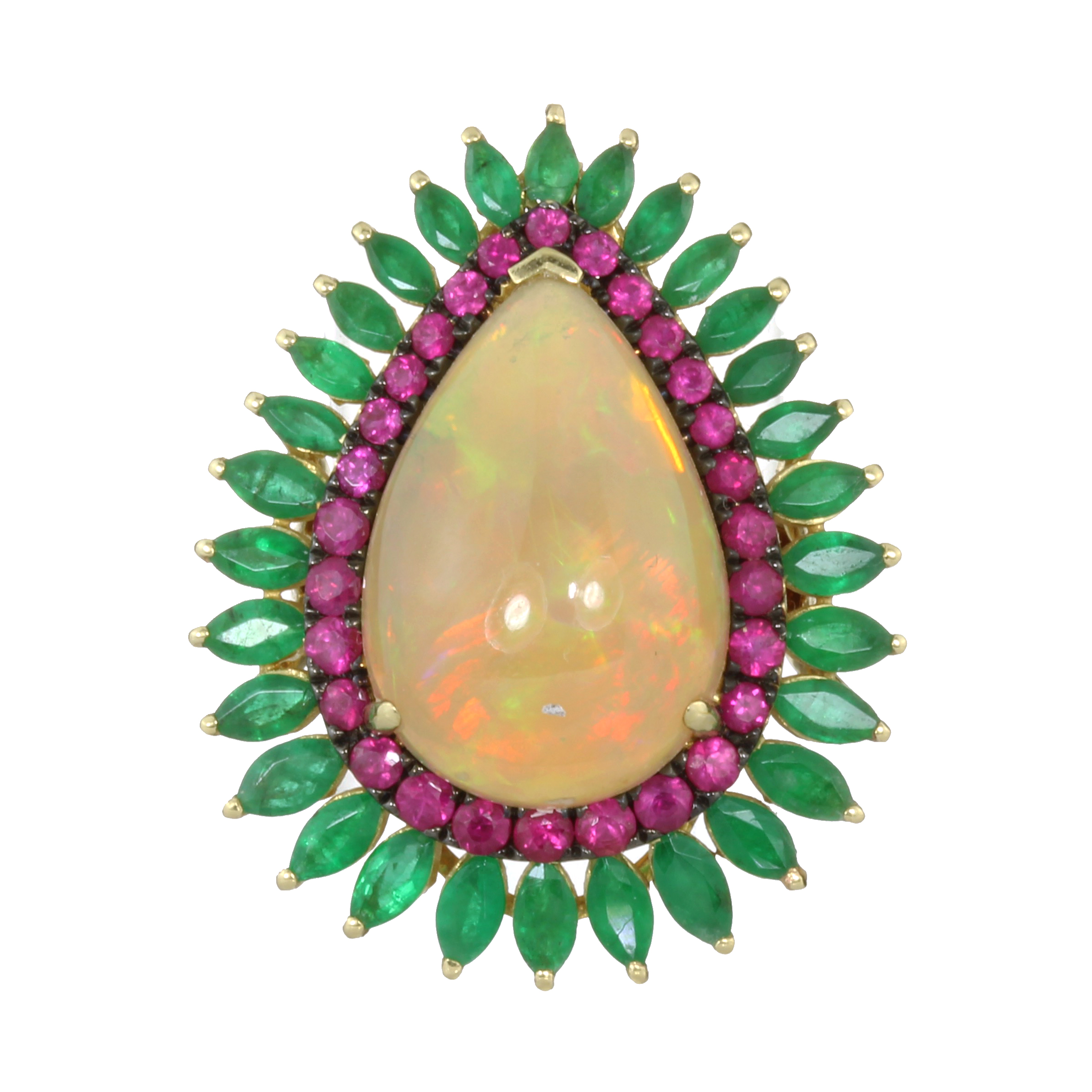 AN ETHIOPIAN OPAL, RUBY AND EMERALD COCKTAIL RING in 18ct yellow gold set with a large, central pear