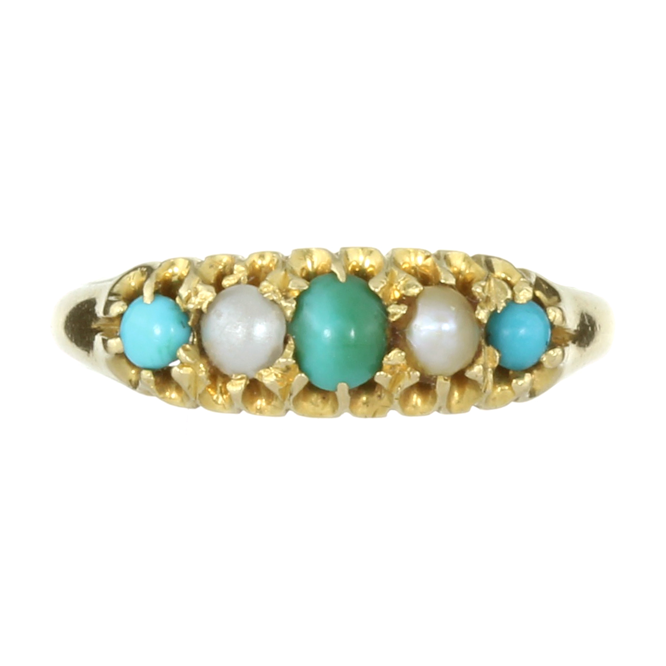 AN ANTIQUE TURQUOISE AND PEARL FIVE STONE RING, 1901 in 18ct yellow gold set with a single row of