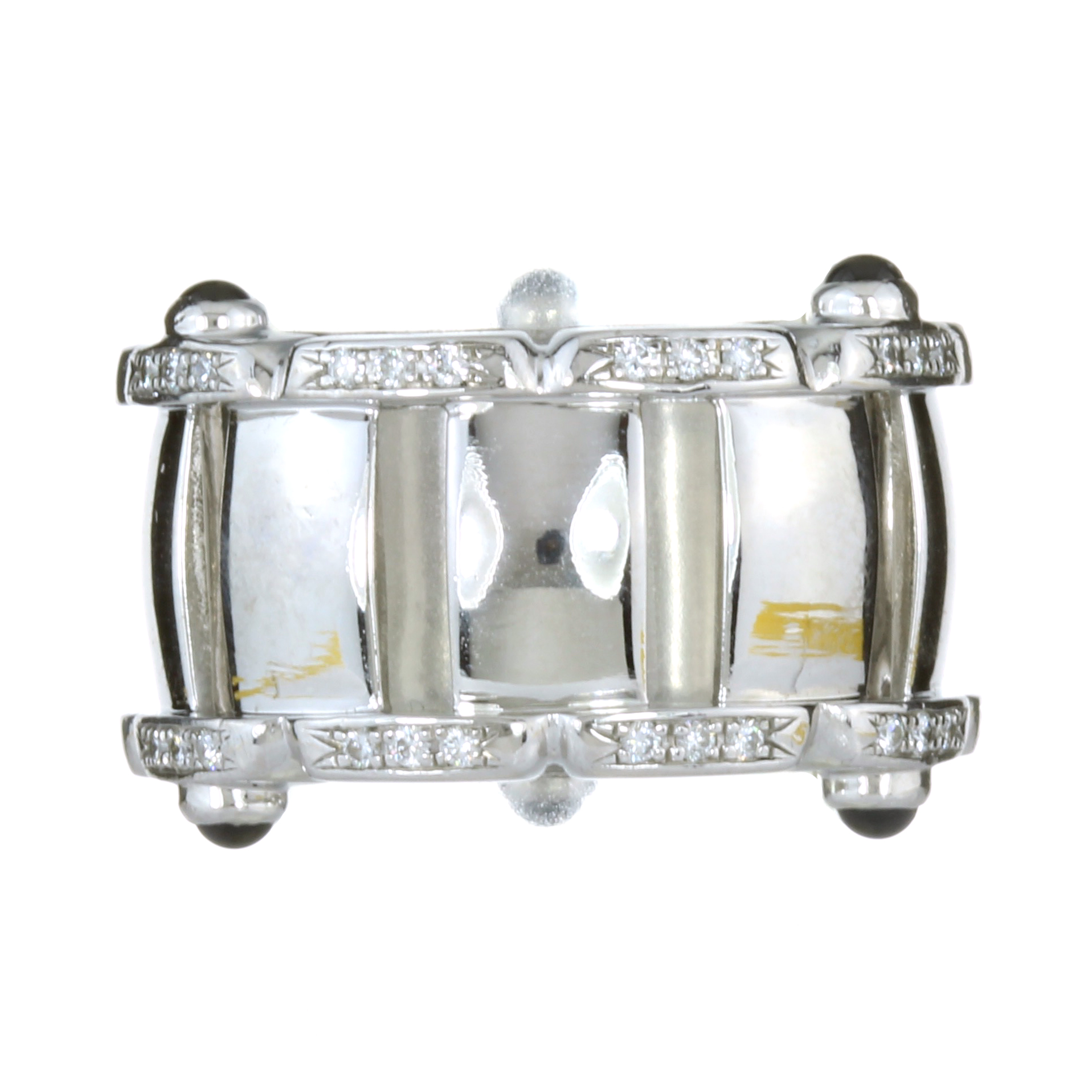 A SAPPHIRE AND DIAMOND TWENTY-4 RING BY PATEK PHILIPPE in 18ct white gold, designed with off-set