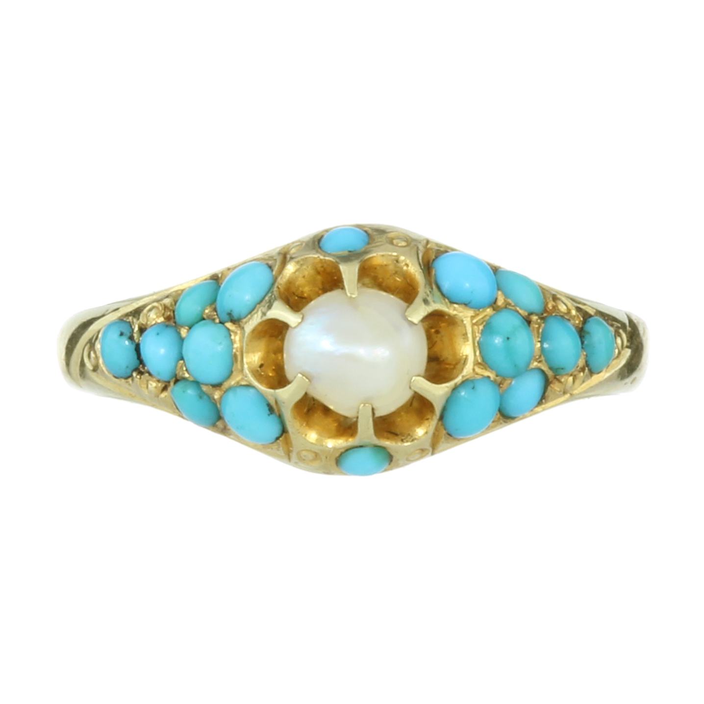 Los 6 - AN ANTIQUE TURQUOISE AND PEARL RING in high carat yellow gold, set with a central pearl of 4.6mm,