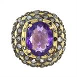 AN ANTIQUE ART DECO AMETHYST, SAPPHIRE AND DIAMOND RING, SPANISH in high carat yellow gold set