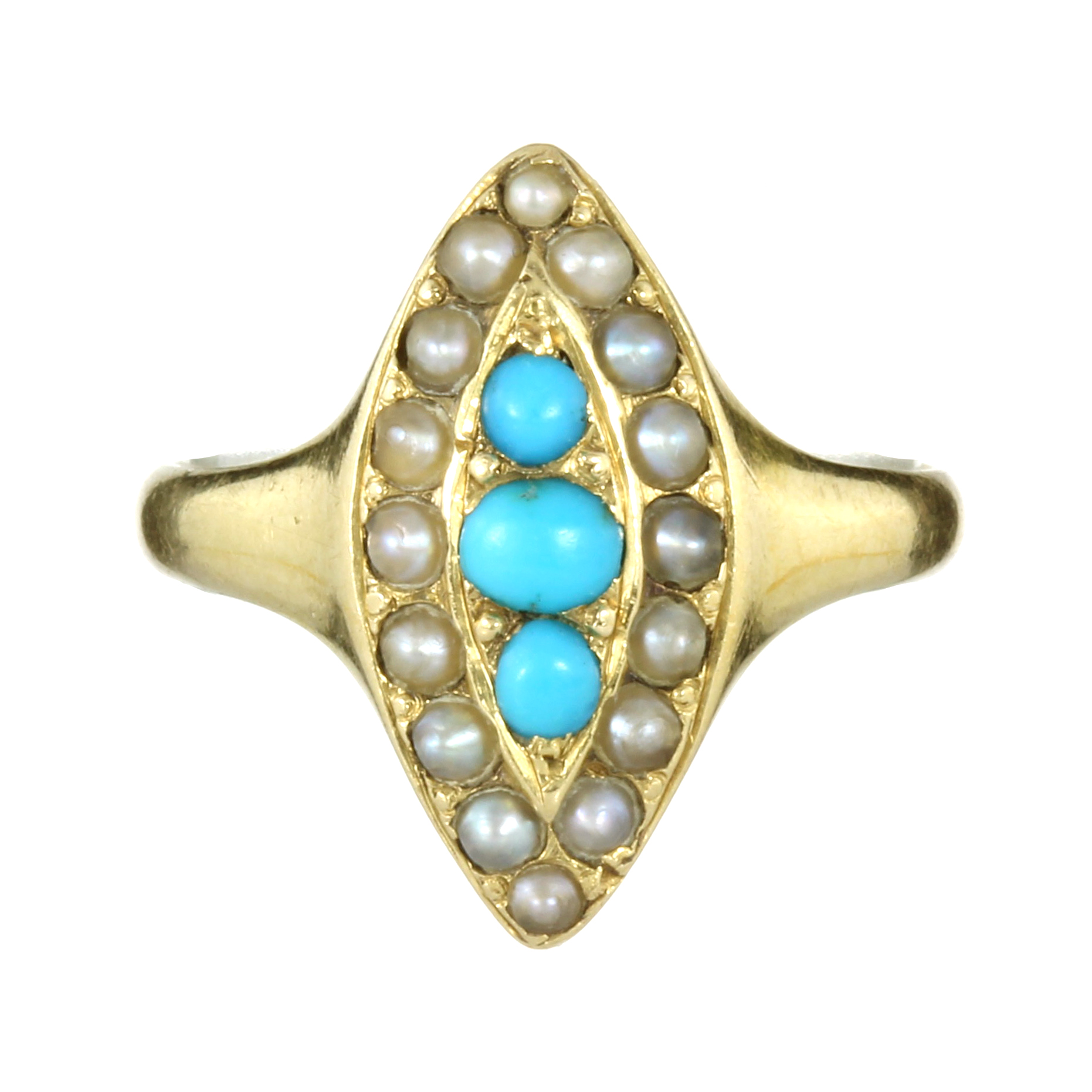 AN ANTIQUE TURQUOISE AND PEARL DRESS RING in high carat yellow gold set with a trio of turquoise