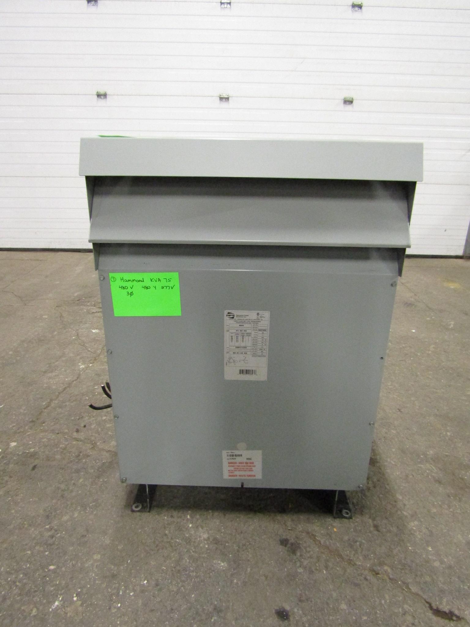 Lot 30 - Hammond 75 KVA Electrical Transformer - 480V to 480Y / 277V 3 phase