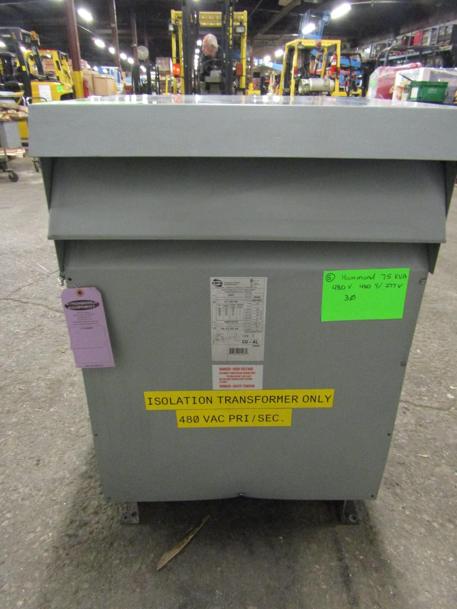 Lot 27 - Hammond 75 KVA Electrical Transformer - 480V to 480Y / 277V 3 phase