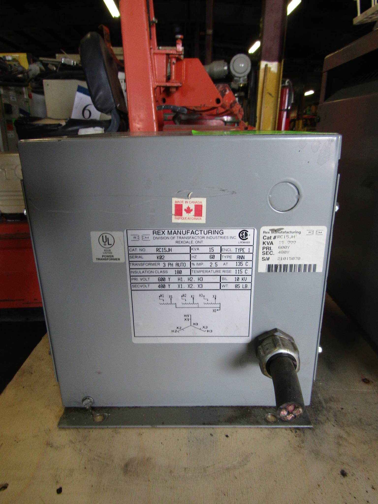 Lot 31 - Rex 15 KVA Electrical Transformer 3 phase AUTO 600Y to 480Y