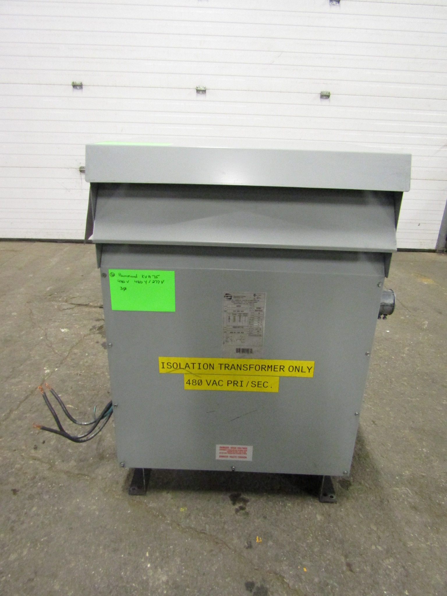 Lot 28 - Hammond 75 KVA Electrical Transformer - 480V to 480Y / 277V 3 phase