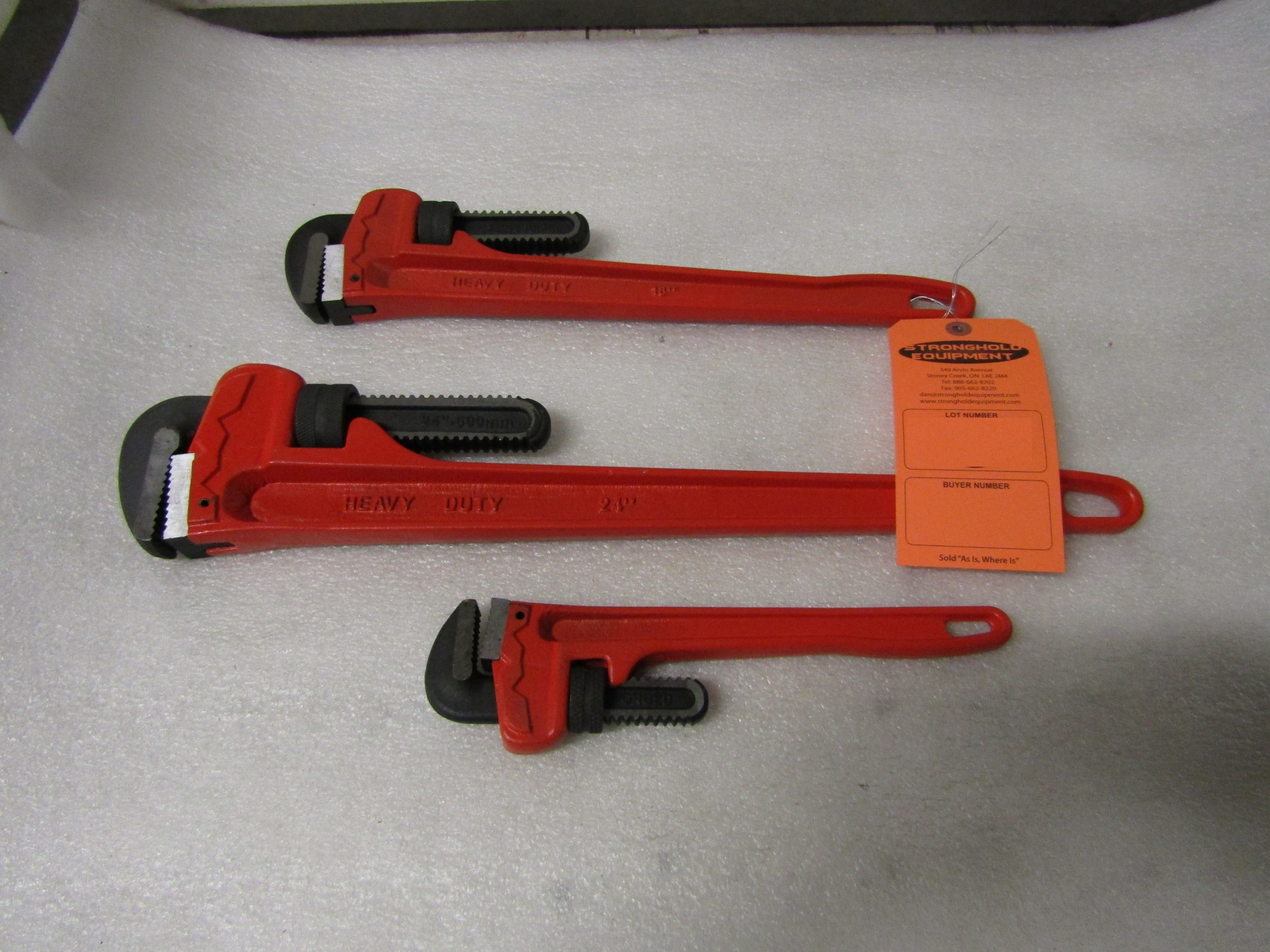 Lot 7 - Lot of 3 Pipe Wrenches - brand new
