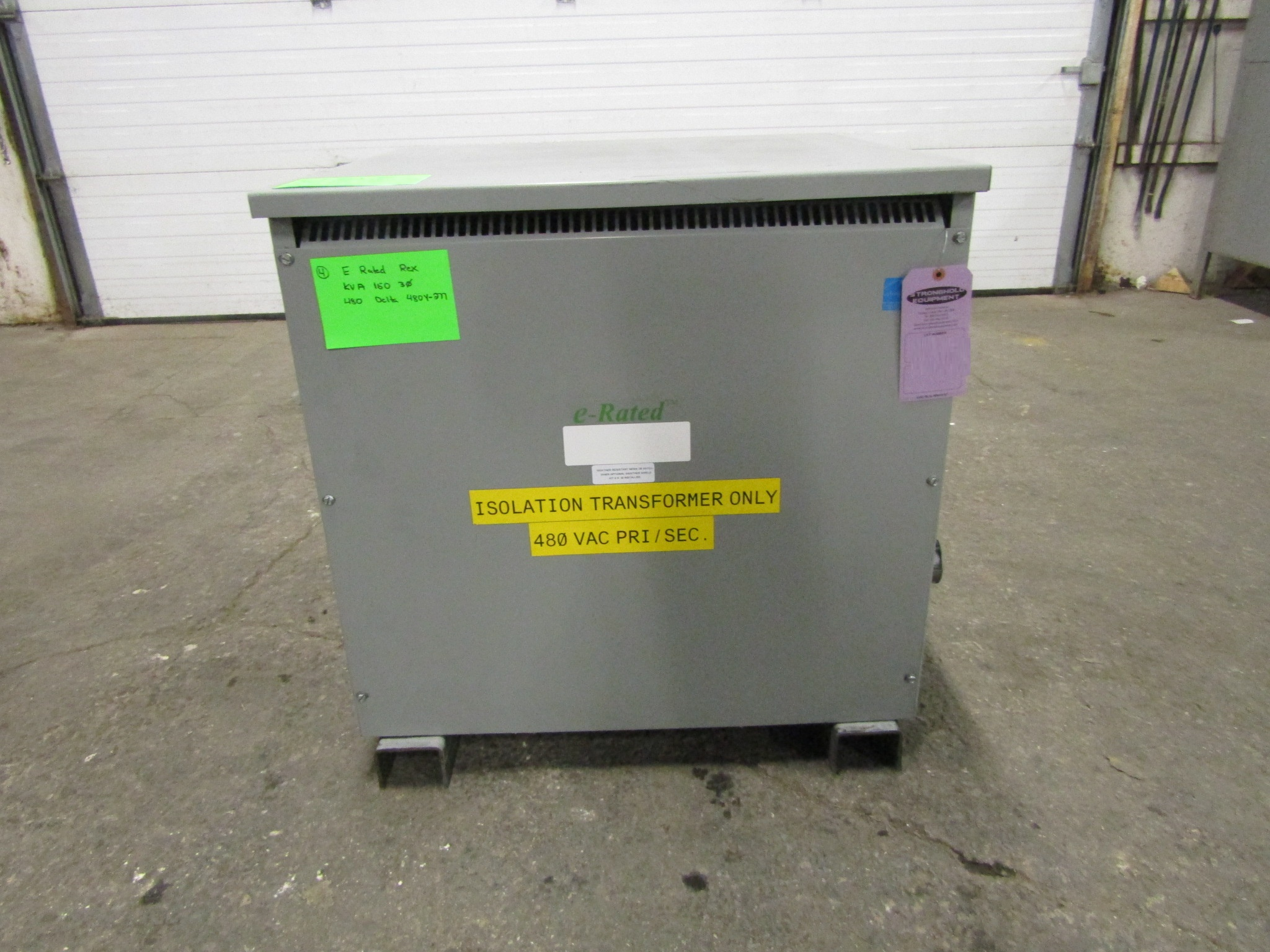 Lot 26 - REX E-rated 150 KVA Electrical Transformer - 480 Delta to 480Y / 277V 3 phase