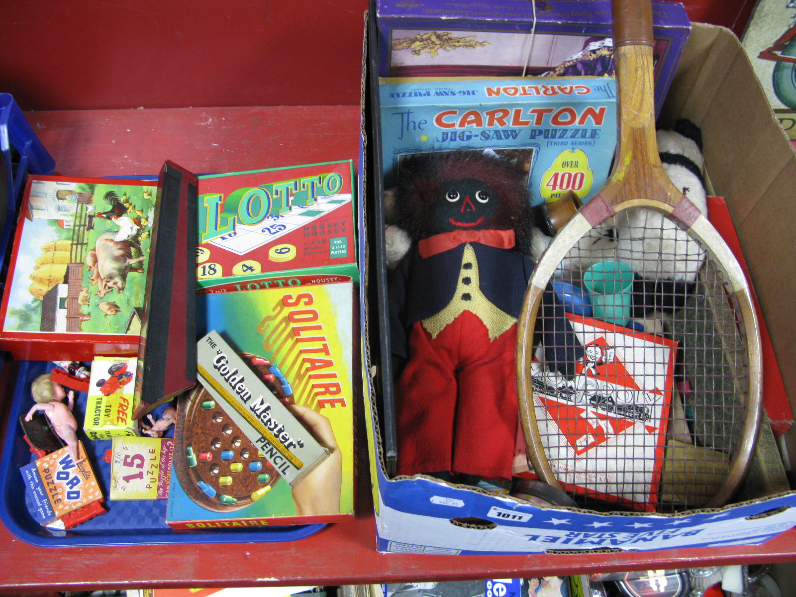Lot 1011 - Vintage Games etc- Solitaire, Lotto, 'Farmyard' print, Mirrorscope, jigsaw puzzles, tennis racket,