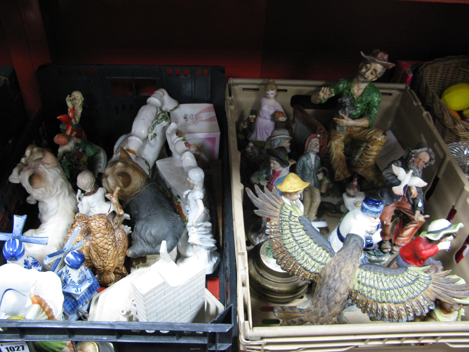 Lot 1027 - Capo Di Monte and Other Pottery Figure Groups, resin eagle, etc:- Two Boxes