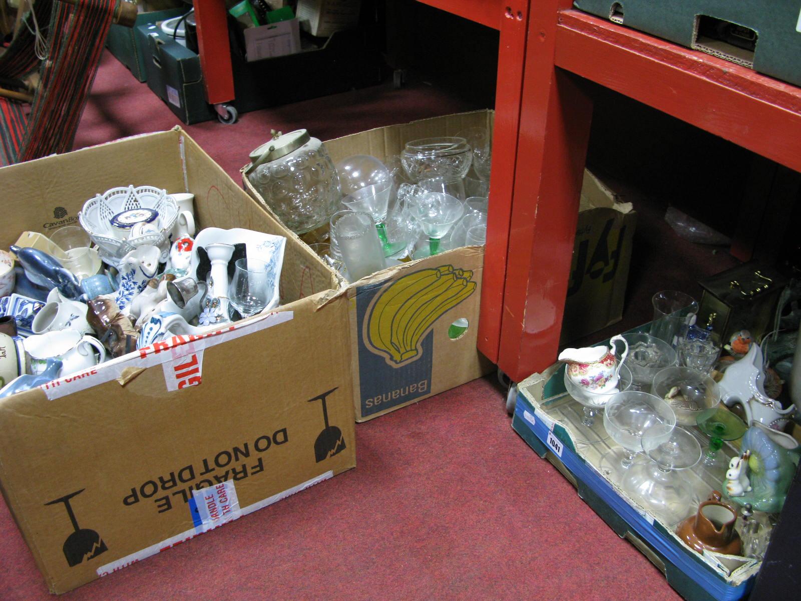 Lot 1041 - Alabaster Bucket, clocks, glassware, toilet jug, many other ceramics:- Three Boxes
