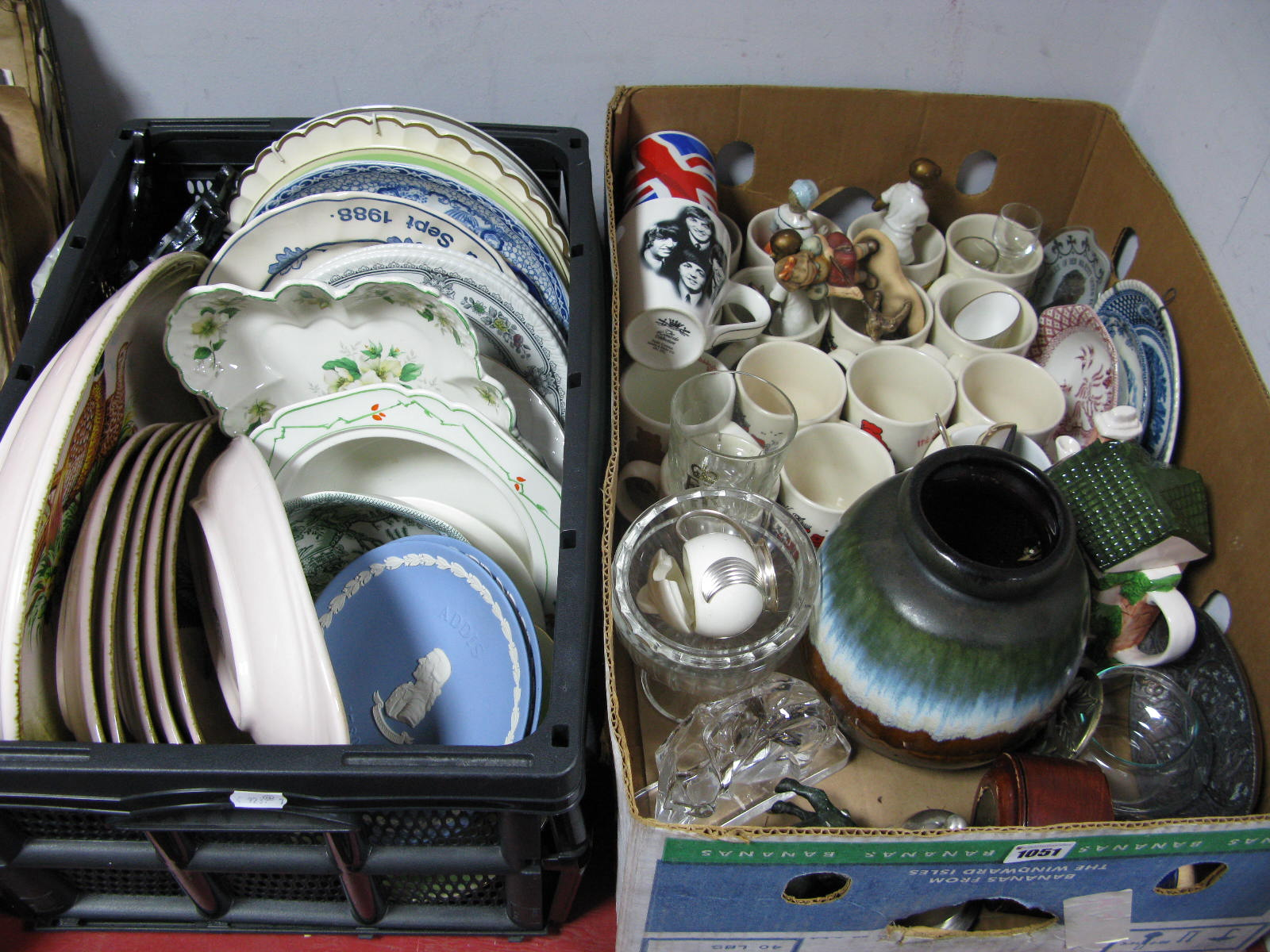 Lot 1051 - A Quantity of Plates, including Wedgwood, Old Foley, Denby Dales, West Germany vase, '248-19', mugs,