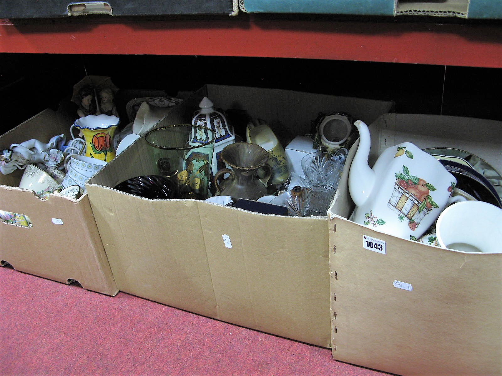 Lot 1043 - Sudlows Crinoline Lady Teapot, teaware, plates, glassware, etc:- Three Boxes